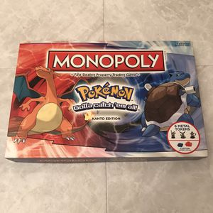 Pokemon monopoly kanto edition complete all pieces there clean pikachu eevee figure toy board game charizard blastoise for Sale in Burtonsville, MD