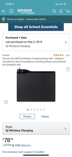 Wireless charging Corsair gaming mouse pad! for Sale in Jacksonville, NC
