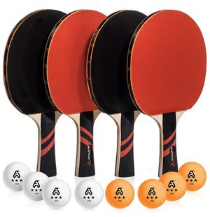 NEW! Ping Pong Paddle Set of 4 - Pro Wood Ping-Pong Paddles and 8 Light Regulation Table Tennis Balls - This 4-Player Racket and Ball Kit is the Perf for Sale in Stuart, FL