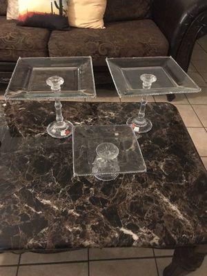 Juego de Vases de cristal para pasteles ,crystal vase set for cakes for Sale in Haines City, FL