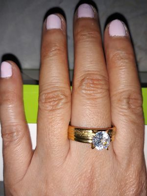 18 K Gold Plated Simulant Diamond Engagement Ring, Size 10. for Sale in Dallas, TX