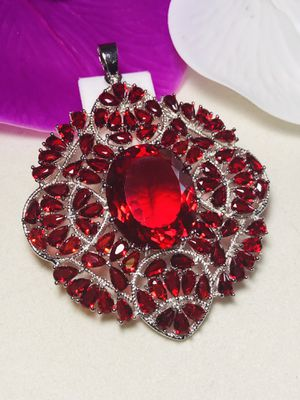 Sterling Silver.925 Red Ruby Pendant. for Sale in Santee, CA