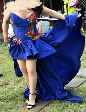 Royal blue ball gown with red rose lace for Sale in Philadelphia, PA