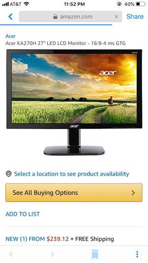 """Acer 27"""" LED LCD MONITOR 4 me GTG for Sale in San Jose, CA"""