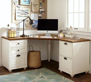Pottery Barn Corner Desk Office - solid wood, file cabinets, very heavy for Sale in La Costa, CA