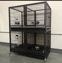 Brand new Dog pet kennel cage crate 🐕🦺 double stack double door in factory sealed box🇺🇸 see each level dimensions in second picture🐾 for Sale in Avondale,  AZ
