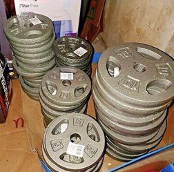 "CAP Standard grip Cast Iron Plates 1"" Hole 2.5, 5, 10, 25 Lb ($1. 75A Lb) for Sale in Whittier,  CA"