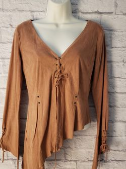 Bebe Suede Leather Angled Boho Long Sleeved Top Size Large for Sale in North Las Vegas,  NV