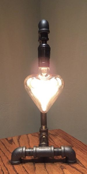 Mothers Day Gift Industrial Style Lamp with Heart Shaped Bulb for Sale in Phoenix, AZ