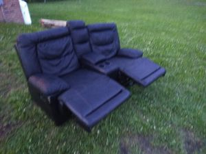 Foux leather couch. Comfy and in decent shape for Sale in Kenbridge, VA