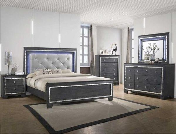 SPECIAL]Perina Ash Gray LED Pahsnel Bedroom Set  