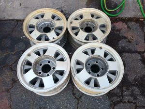 Chevy aluminum rims. 5 on 5 lugs fits trucks or vans. 15 inch for Sale in Montebello, CA