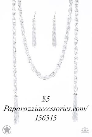 Silver scarf chain necklace and earring set for Sale in Hyattsville, MD