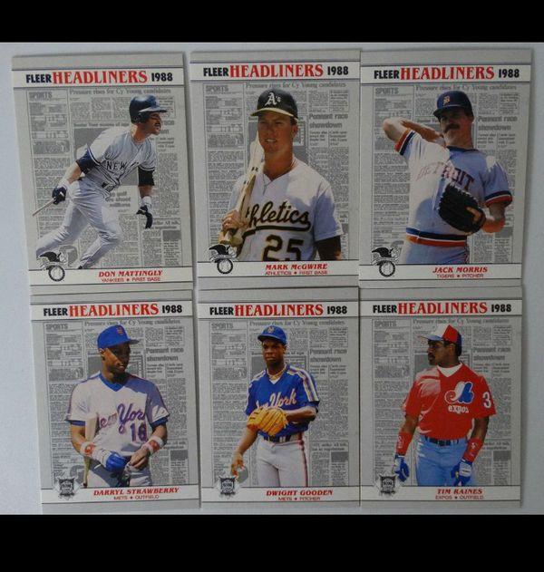 Vintage 1988 Fleer 6-card Headliners Baseball Set Don Mattingly Mark McGwire