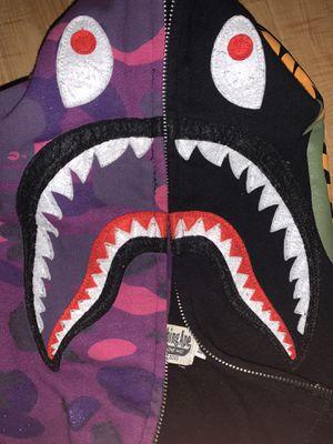 A BATHING APE early wgm half camo shark hood purple size M for Sale in San Antonio, TX
