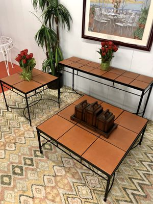 Italian Wrought Iron Terracotta Living Room Table Set (Coffee Table Side End Table and Sofa Sideboard Table) Delivery Service Available for Sale in Boynton Beach, FL