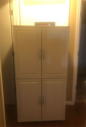 White Wood Storage Cabinet with shelving for Sale in Gahanna, OH