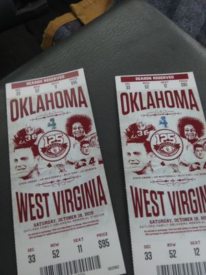 OU vs West Virginia game tickets for Sale in Broken Arrow, OK