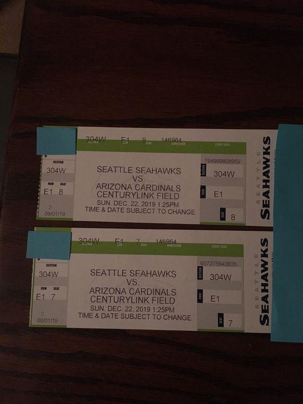 Seahawks vs Arizona Cardinals 2 tickets