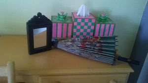 present boxes/tissue holder, small picture frame, deco umbrella for Sale in Kendallville, IN
