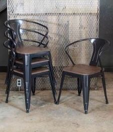 New in box $30 each metal steel caristle chair black available with wooden or pu cushion top stackable for Sale in Covina, CA