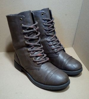 Brown Leather Brash Lace-Up Combat Boots for Sale in Fairfield, CA
