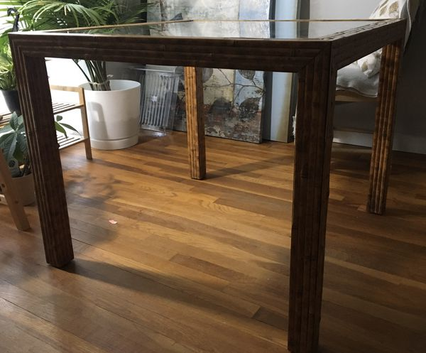 Glass-topped bamboo table