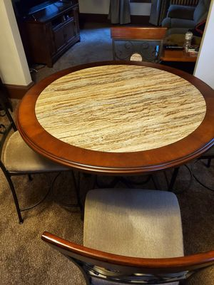Dining Room/ Rec Room High Top Table with 4 Padded Chairs for Sale in Milwaukee, WI