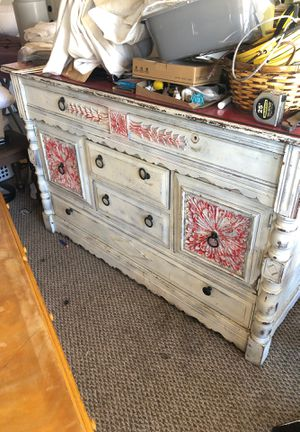 Antique buffet side table with shelves and drawers and glass top for Sale in Santa Ana, CA