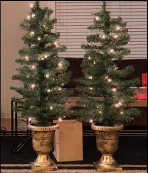 Set of 2 NEW Pre-Lit Poarch Entryway Christmas Trees with Gold Painted Pot Stand (NEW) Decorations for Sale in Sherman, TX