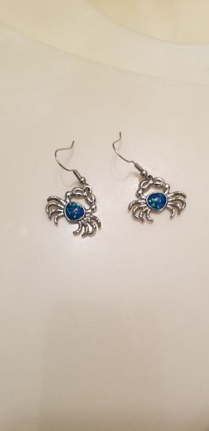 Sterling silver fire blue opal crab earrings for Sale in St. Petersburg, FL
