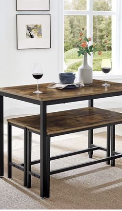 Dining Table Set with 2 Benches, 3 Pieces Set, Kitchen Table of 43.3 x 27.6 x 29.5 Inches, Bench of 38.2 x 11.8 x 19.7 Inches Each, Industrial Design, for Sale in Corona,  CA