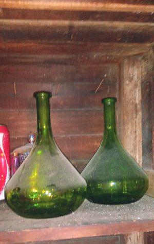 2 antique green glass wine bottles for Sale in Gardena, CA