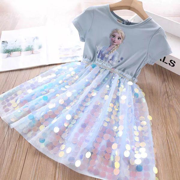 2020 girls dress Frozen Sequins patch work