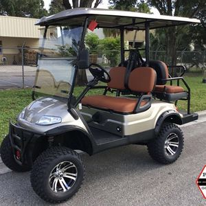 ADVANCED EV CHAMPAGNE 4 PASSENGER ADVANCED EV LIFTED LSV STREET LEGAL GOLF CART FAST LUX AC MOTOR 2YR WARRANTY TROJAN BATTERY FLIP SEAT.ALOY RIM for Sale in West Palm Beach, FL