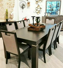 Hyndell Dark Brown Dining Room Set 📍 Table and Chairs for Sale in Round Rock,  TX