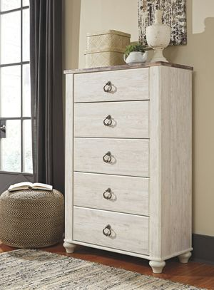 Ashley Furniture Whitewash Five Drawer Chest for Sale in Santa Ana, CA