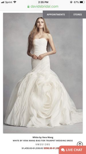 White by Vera Wang Bias-Tier Trumpet Wedding Dress for Sale in Melrose, TN