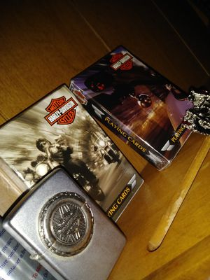 Harley-Davidson Zippo lighter playing cards and bling bling motorcycle pin for Sale in MIDDLEBRG HTS, OH