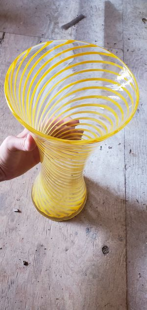 Yellow spiral blown glass vase for Sale in Arvada, CO