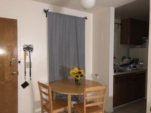 foldable round dining table + 3 chairs (one not included in picture) for Sale in Berkeley, CA