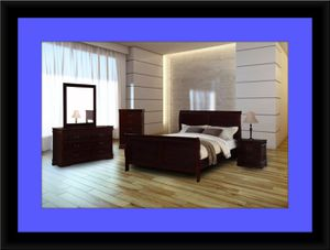 11pc Louis Phillipe bedroom set with mattress for Sale in Rockville, MD