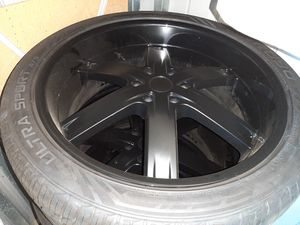 ALMOST NEW 24inch Rims w/Tires - 1st PERSON WITH $400 CASH CAN TAKE THESE RIMS!!!!! MUST GO!!! for Sale in San Diego, CA