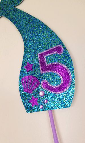 Teal/Purple 5th Birthday Mermaid Tail Cake Topper for Sale in Chula Vista, CA