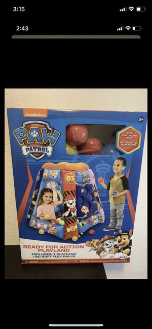Brand new nib kids toys boys toys girls toys paw patrol nickelodeon ball pit ready for action playland ball toss inflatable game toy for Sale in Lake Forest, CA