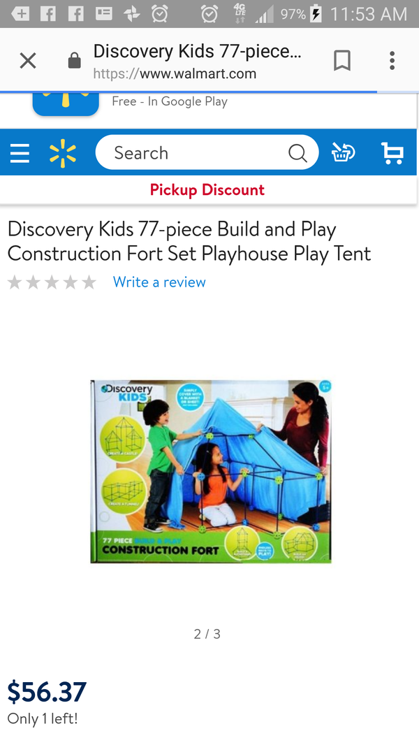 Discovery Kids build and play tent