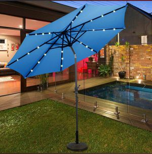 New 10 Ft Patio Solar Umbrella With Crank And Led Lights-Blue for Sale in Alta Loma, CA