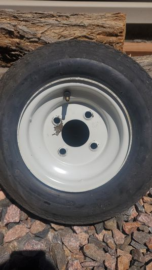 Trailer tire 8x3.75 rim and tire are in good shape, just needs a new tube for Sale in Littleton, CO