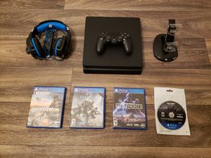 Playstation 4 [PS4] 500 GB Slim Console Bundle, 4 Games, Fornite Skins, Gaming Headset, & LED Charging Dock for Sale in Dunwoody, GA