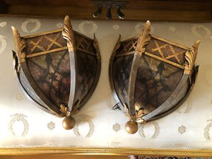 Pair of Villa 1919 Light Shade Sconces Revival Renaissance Medieval Gothic Antique Style Fine Arts for Sale in Alhambra, CA